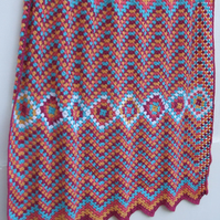 crochet throw, crochet blanket, Moroccan style afghan