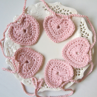Pink heart garland, Valentine heart bunting, crochet heart garland, heart decor