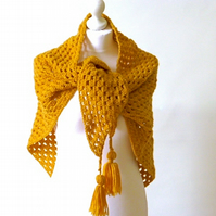 Crochet triangle shawl, mustard shawl, chunky wool wrap