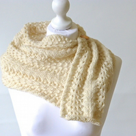 Knitted cowl, adjustable scarf, cream knit cowl, cream knit scarf, organic