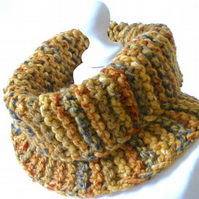 Super chunky cowl, handknitted mustard cowl, chunky knit cowl, knit neckwarmer