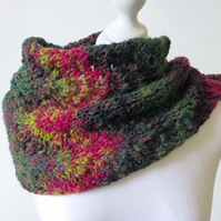 Knitted cowl, adjustable scarf, knitted snood, knit neckwarmer, multicoloured