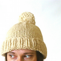 Cream knitted beanie, chunky knit beanie, pompom beanie, knitted slouchy hat,