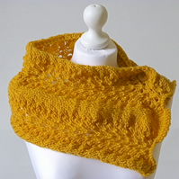 Lace scarf, knitted cowl, adjustable neck warmer