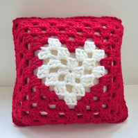 Valentines Day cushion cover, Crochet cushion cover, removable cushion cover