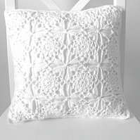 Crochet cushion cover, organic cotton white removable cushion cover