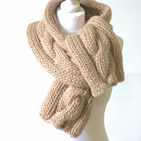 knitted scarf, chunky knit scarf, cable scarf, unisex scarf, knitted neckwarmer,