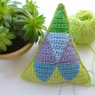 Pincushion, Crochet pincushion, geometric pincushion, pin tidy, greenery theme