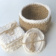 Spa set, crochet jute basket, crochet washcloth, facecloth and scrubbies