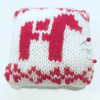 Knitted dala horse pincushion, dala horse design, pin tidy, gift for needlework