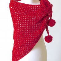 Crochet triangle shawl, red shawl, chunky wool wrap, crochet wrap, red scarf