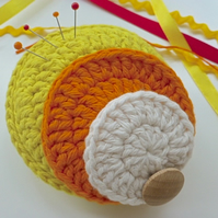 Crochet pincushion, Pop art pincushion, pin tidy, needlework gift