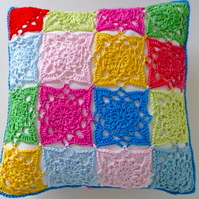 Crochet cushion cover, multicoloured removable cushion cover, 50% discount code