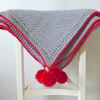 chunky knit blanket, grey and pink knitted blanket, blanket with pompoms