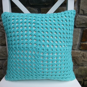 Crochet cushion cover, turquoise cushion cover, removable cover,