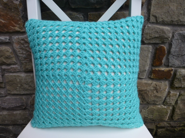 Crochet cushion cover, turquoise cushion cover, removable cover