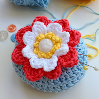 Crochet Pincushion, waterlily pincushion, pin tidy,  blossom pincushion