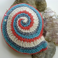 Ammonite crochet pincushion, shell pincushion, pin tidy,  spiral pincushion
