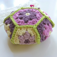 Crochet Pincushion, hexagon pincushion, pin tidy,  blossom pincushion