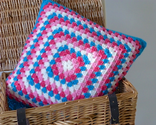 Crochet cushion cover, turquoise and pink cushion cover, removable cover
