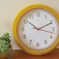 Wall clock cover, cosy for wall clock, yellow knitted clock cozy
