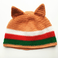 Crochet beanie, fox hat, Welsh beanie, unisex hat, Wales supporter's hat