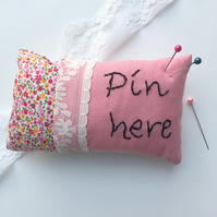 Pink cotton pincushion, pincushion with stitched letters, Pin here pincushion