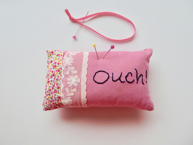 Pink cotton pincushion, pincushion with stitched letters, Ouch pincushion