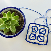 Pincushion, Crochet pincushion, Portuguese tile pincushion, pin tidy,