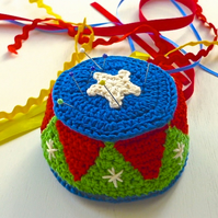 Crochet Pincushion, circus pincushion, pin tidy, craft room pincushion
