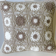 Crochet cushion cover, organic cotton removable cushion cover