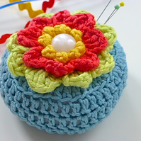 Crochet Pincushion, waterlily pincushion, pin tidy,  blossom pincushion, sale