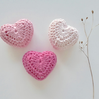 Crochet hearts, set of three pink cotton hearts, lavender hearts