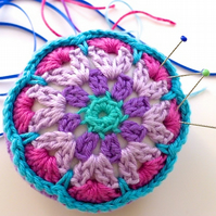 Pincushion, flower pincushion, crochet mandala pincushion