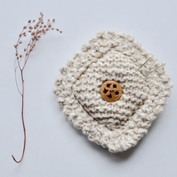Pincushion, knitted pincushion, cream pincushion