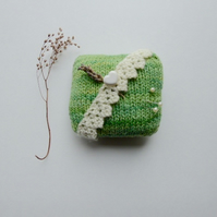Pincushion, knitted pincushion, green pincushion