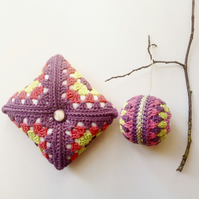 Pincushion, crochet square pincushion, organic cotton pincushion