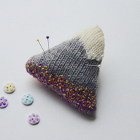 Pincushion, knitted pincushion, mountain pincushion