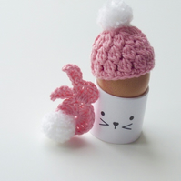 Egg cosy and bunny, deep pink egg cosy, crochet egg cosy with a rabbit