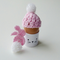 Egg cosy and bunny, pink egg cosy, crochet egg cosy with a rabbit