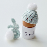 Egg cosy and bunny, pale blue egg cosy, crochet egg cosy with a rabbit