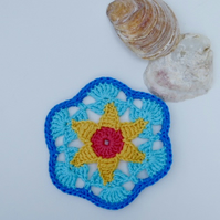 Applique motif, crochet applique, summer motif.