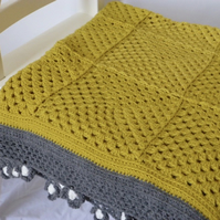 Crochet blanket, mustard and grey blanket