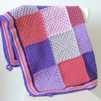 Crochet blanket, festival blanket, purple and pink blanket