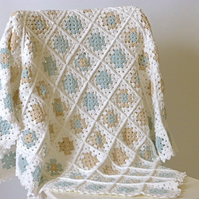 organic baby blanket, crochet baby photo prop, crochet baptismal blanket,
