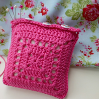Pink Pincushion, crochet square pincushion, pin tidy, needlework gift