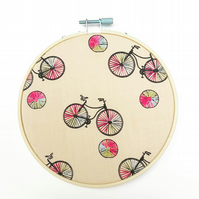Cycling embroidery hoop, bicycle art, textile art hoop