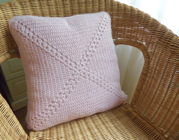 Crochet cushion cover, soft pink cushion cover, removable cover