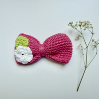 Pink floral hair bow, crochet organic cotton hair bow