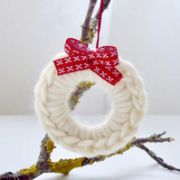 Crochet wreath, mini wreath, Christmas tree decoration, Christmas wreath